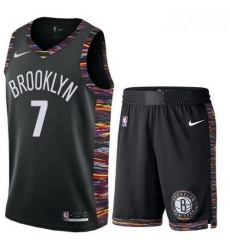 Nets 7 Kevin Durant Black City Edition Nike Swingman Jersey 28With Shorts