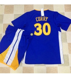 Warriors #30 Stephen Curry Blue Long Sleeve A Set Stitched NBA Jersey