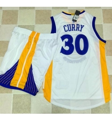 Warriors #30 Stephen Curry White A Set Stitched NBA Jersey