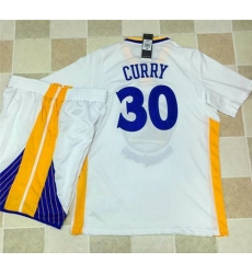 Warriors #30 Stephen Curry White Long Sleeve A Set Stitched NBA Jersey