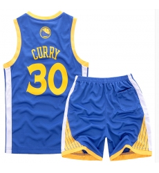 Youth NBA Golden State Warriors 30# Steve Curry Blue Suit Sets