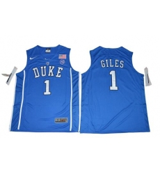 Blue Devils #1 Harry Giles Blue Basketball Elite Stitched NCAA Jersey