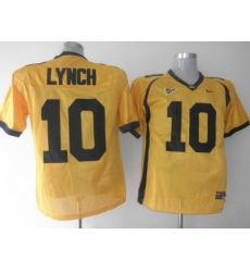 Golden Bears #10 Marshawn Lynch Gold Embroidered NCAA Jersey
