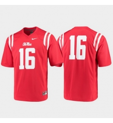 Men Ole Miss Rebels 16 Red Game College Football Jersey