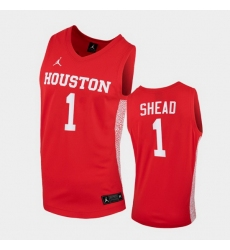 Men Houston Cougars Jamal Shead Replica Red College Basketball Jersey