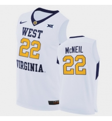 Men West Virginia Mountaineers Sean Mcneil Home White Authentic Jersey