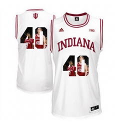 Indiana Hoosiers 40 Cody Zeller White With Portrait Print College Basketball Jersey