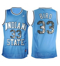 Indiana State Sycamores 33 Larry Bird Blue With Portrait Print College Basketball Jersey