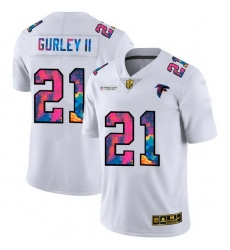 Atlanta Falcons 21 Todd Gurley II Men White Nike Multi Color 2020 NFL Crucial Catch Limited NFL Jersey