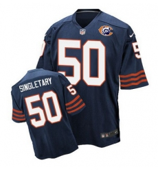 Nike Bears #50 Mike Singletary Navy Blue Throwback Mens Stitched NFL Elite Jersey