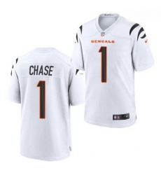 Youth Cincinnati Bengals #1 Ja'Marr Chase White 2021 Game Football Jersey