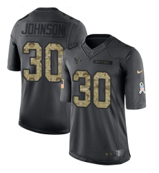 Nike Texans #30 Kevin Johnson Black Youth Stitched NFL Limited 2016 Salute to Service Jersey