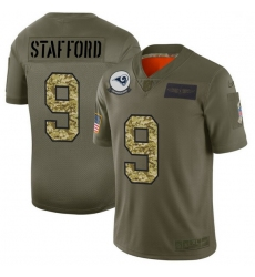 Men Los Angeles Rams 9 Matthew Stafford Men Nike 2019 Olive Camo Salute To Service Limited NFL Jersey