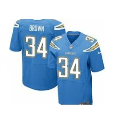 Nike San Diego Chargers 34 Donald Brown Blue Elite NFL Jersey