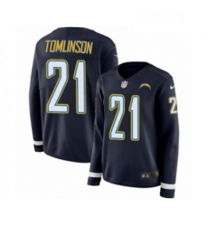 Womens Nike Los Angeles Chargers 21 LaDainian Tomlinson Limited Navy Blue Therma Long Sleeve NFL Jersey