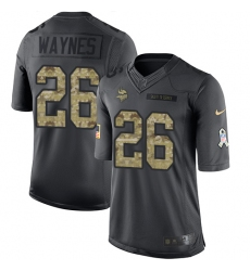 Nike Vikings #26 Trae Waynes Black Youth Stitched NFL Limited 2016 Salute To Service Jersey