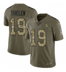 Youth Nike Minnesota Vikings 19 Adam Thielen Limited OliveCamo 2017 Salute to Service NFL Jersey