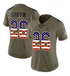 Womens Nike Seattle Seahawks 26 Shaquill Griffin Limited OliveUSA Flag 2017 Salute to Service NFL Jersey