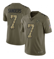 7 Limited Jason Sanders OliveCamo Nike NFL Mens Jersey Miami Dolphins 2017 Salute to Service