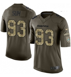 Mens Nike Miami Dolphins 93 Ndamukong Suh Limited Green Salute to Service NFL Jersey
