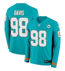 Nike Dolphins 98 Raekwon Davis Aqua Green Team Color Men Stitched NFL Limited Therma Long Sleeve Jersey