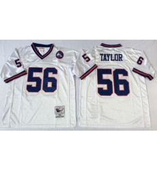 Men New York Giants 56 Lawrence Taylor White M&N Throwback Jersey