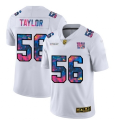 New York Giants 56 Lawrence Taylor Men White Nike Multi Color 2020 NFL Crucial Catch Limited NFL Jersey