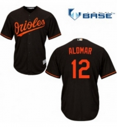 Youth Majestic Baltimore Orioles 12 Roberto Alomar Authentic Black Alternate Cool Base MLB Jersey