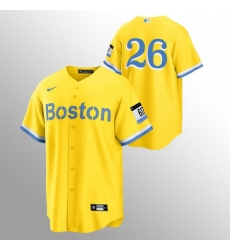 Men Boston Red Sox 26 Wade Boggs Men Nike 2021 City Connect Gold Fans Version MLB Jersey   No Name