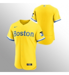 Men Boston Red Sox Men Nike 2021 City Connect Gold Authentic MLB Jersey
