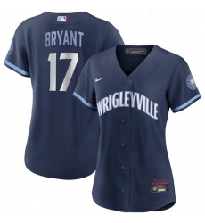Women's Kris Bryant Cubs Wrigleyville Jersey Navy City Stitched 2021