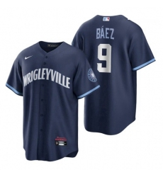 Youth Cubs Wrigleyville Javier Baez Navy City Connect Replica Jersey