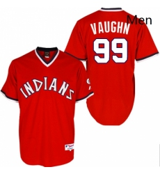 Mens Majestic Cleveland Indians 99 Ricky Vaughn Replica Red 1974 Turn Back The Clock MLB Jersey