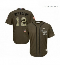 Youth Colorado Rockies 12 Mark Reynolds Authentic Green Salute to Service Baseball Jersey