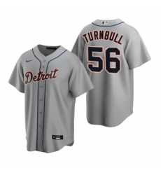 Mens Nike Detroit Tigers 56 Spencer Turnbull Gray Road Stitched Baseball Jersey