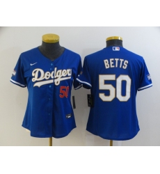 Women Los Angeles Dodgers Mookie Betts 50 Championship Gold Trim Blue Limited All Stitched Cool Base Jersey