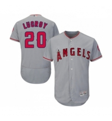 Mens Los Angeles Angels of Anaheim 20 Jonathan Lucroy Grey Road Flex Base Authentic Collection Baseball Jersey