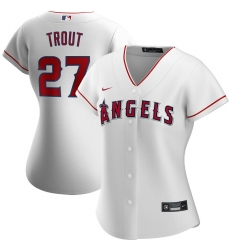 Los Angeles Angels 27 Mike Trout Nike Women Home 2020 MLB Player Jersey White