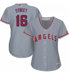 Womens Majestic Los Angeles Angels of Anaheim 16 Huston Street Authentic Grey Road Cool Base MLB Jersey