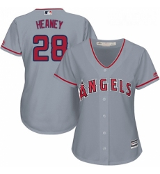 Womens Majestic Los Angeles Angels of Anaheim 28 Andrew Heaney Replica Grey Road Cool Base MLB Jersey