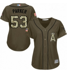 Womens Majestic Los Angeles Angels of Anaheim 53 Blake Parker Authentic Green Salute to Service MLB Jersey
