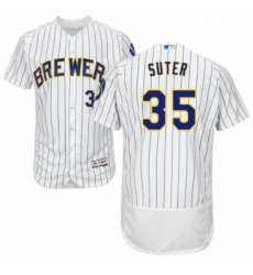 Mens Majestic Milwaukee Brewers 35 Brent Suter White Home Flex Base Authentic Collection MLB Jersey