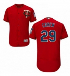 Mens Majestic Minnesota Twins 29 Rod Carew Authentic Scarlet Alternate Flex Base Authentic Collection MLB Jersey
