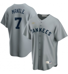 Men New York Yankees 7 Mickey Mantle Nike Road Cooperstown Collection Player MLB Jersey Gray