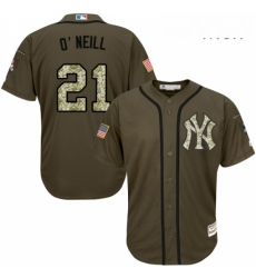 Mens Majestic New York Yankees 21 Paul ONeill Replica Green Salute to Service MLB Jersey