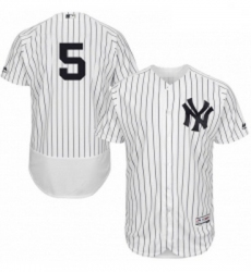 Mens Majestic New York Yankees 5 Joe DiMaggio White Home Flex Base Authentic Collection MLB Jersey