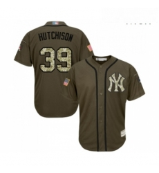 Mens New York Yankees 39 Drew Hutchison Authentic Green Salute to Service Baseball Jersey