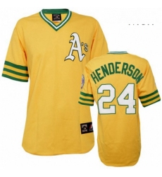 Mens Mitchell and Ness Oakland Athletics 24 Rickey Henderson Authentic Gold Throwback MLB Jersey