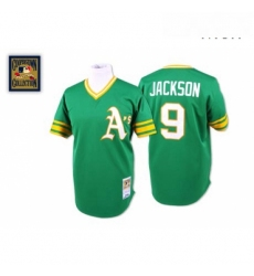 Mens Mitchell and Ness Oakland Athletics 9 Reggie Jackson Authentic Green Throwback MLB Jersey
