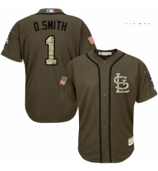 Mens Majestic St Louis Cardinals 1 Ozzie Smith Authentic Green Salute to Service MLB Jersey